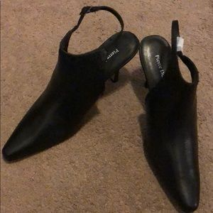 NWOT Black PIERRE DUMAS open back booties, sz 8.5